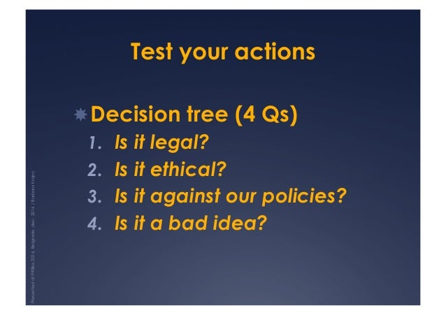 Test your actions !Decision tree (4 Qs) 1. Is it legal? 2. Is it ethical? 3. Is it against our policies? 4. Is it a b...