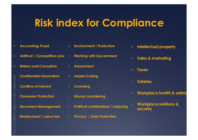 Risk index for Compliance ! Accounting Fraud ! Antitrust / Competition Law ! Bribery and Corruption ! Confidential Inf...