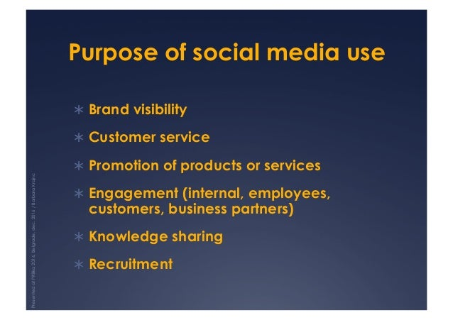 Purpose of social media use !Brand visibility !Customer service !Promotion of products or services !Engagement (intern...