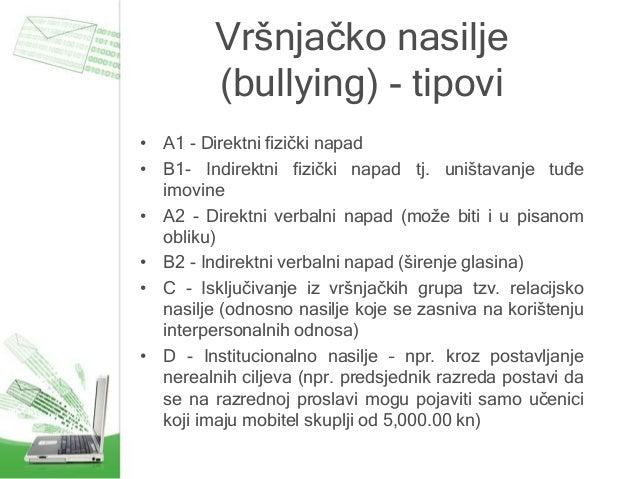 Vršnjačko nasilje (bullying) - tipovi • A1 - Direktni fizički napad • B1- Indirektni fizički napad tj. uništavanje tuđe im...