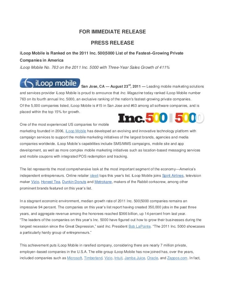 FOR IMMEDIATE RELEASE                                              PRESS RELEASEiLoop Mobile is Ranked on the 2011 Inc. 50...