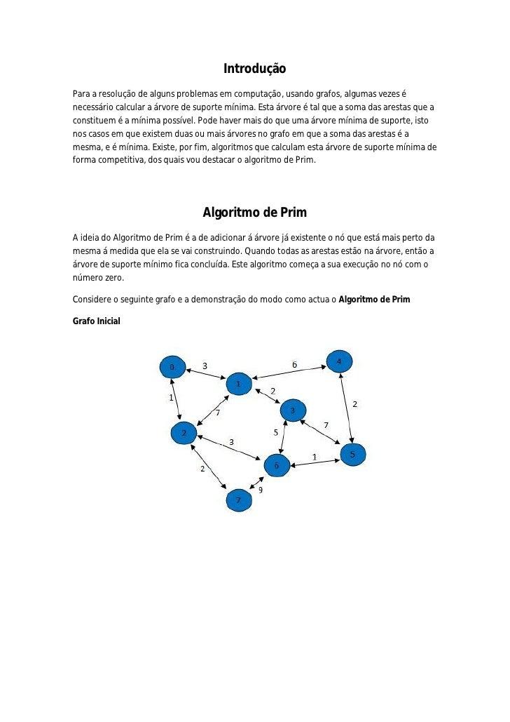 Introdução Para a resolução de alguns problemas em computação, usando grafos, algumas vezes é necessário calcular a árvore...