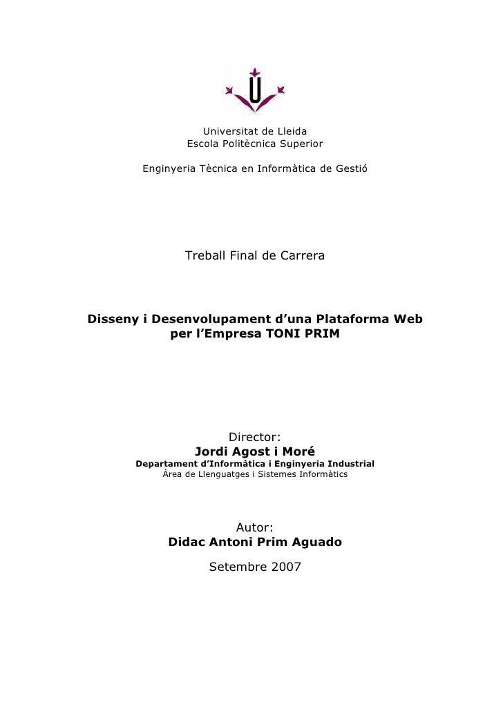 Universitat de Lleida                              Escola Politècnica Superior                   Enginyeria Tècnica en Inf...