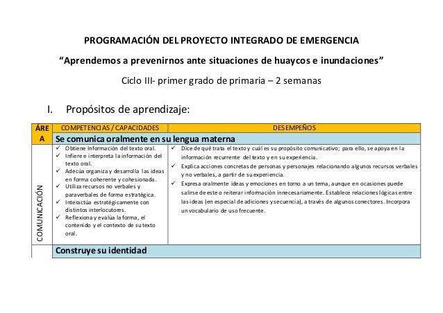 """PROGRAMACIÓN DEL PROYECTO INTEGRADO DE EMERGENCIA """"Aprendemos a prevenirnos ante situaciones de huaycos e inundaciones"""" Ci..."""