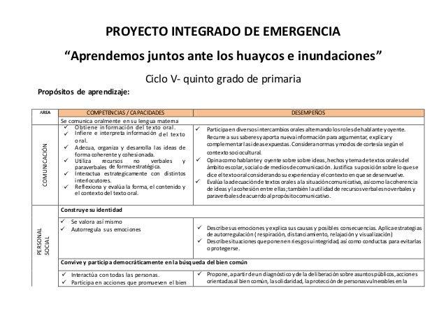"""PROYECTO INTEGRADO DE EMERGENCIA """"Aprendemos juntos ante los huaycos e inundaciones"""" Ciclo V- quinto grado de primaria Pro..."""