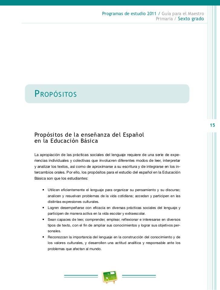 Programas de estudio 2011 / Guía para el Maestro                                                                  Primaria...