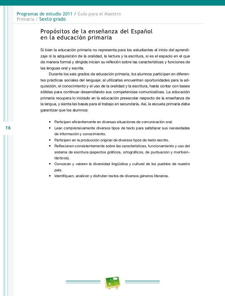 Programas de estudio 2011 / Guía para el Maestro     Primaria / Sexto grado                     Avanzan considerablemente ...
