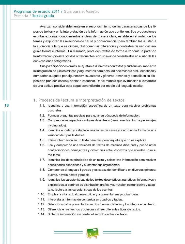 Programas de estudio 2011 / Guía para el Maestro     Primaria / Sexto grado                   3.7. Toma notas de una expo...