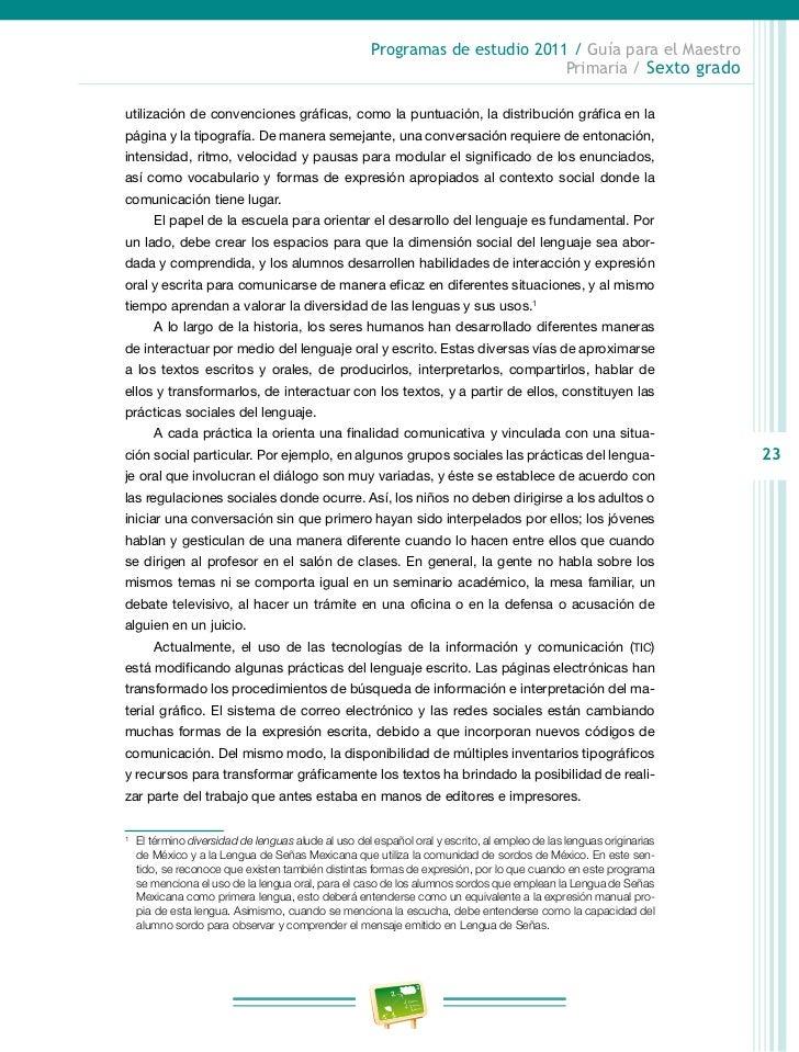 Programas de estudio 2011 / Guía para el Maestro                                                                    Primar...