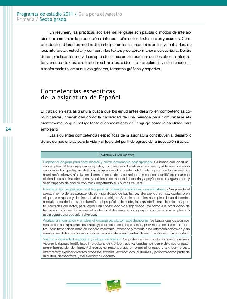 Programas de estudio 2011 / Guía para el Maestro     Primaria / Sexto grado                    • Consideran el tipo de te...