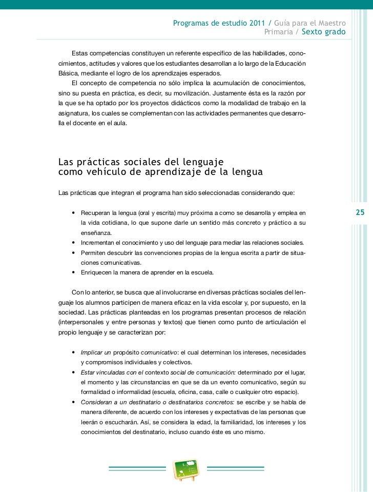 Programas de estudio 2011 / Guía para el Maestro                                                                     Prima...