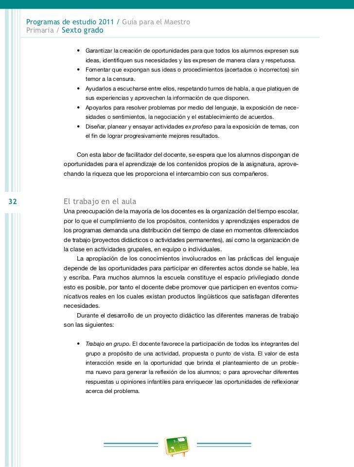 Programas de estudio 2011 / Guía para el Maestro     Primaria / Sexto grado                Uso de materiales impresos en e...