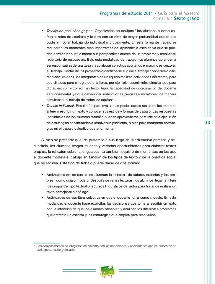 Programas de estudio 2011 / Guía para el Maestro                                                                Primaria /...