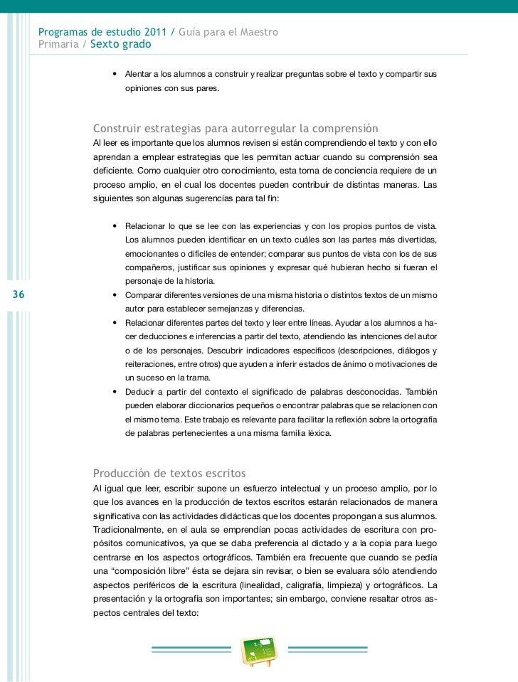 Programas de estudio 2011 / Guía para el Maestro     Primaria / Sexto grado                     • Corregir el texto atend...