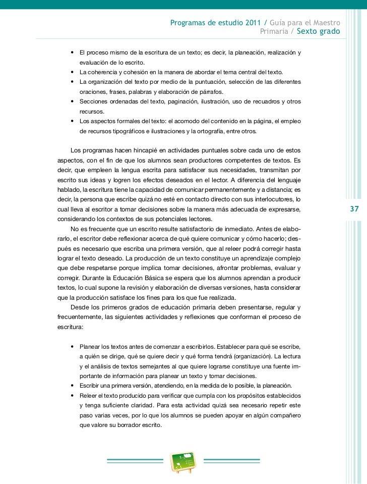 Programas de estudio 2011 / Guía para el Maestro                                                                   Primari...