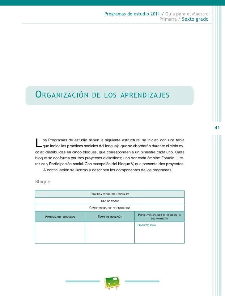 Programas de estudio 2011 / Guía para el Maestro                                                                          ...