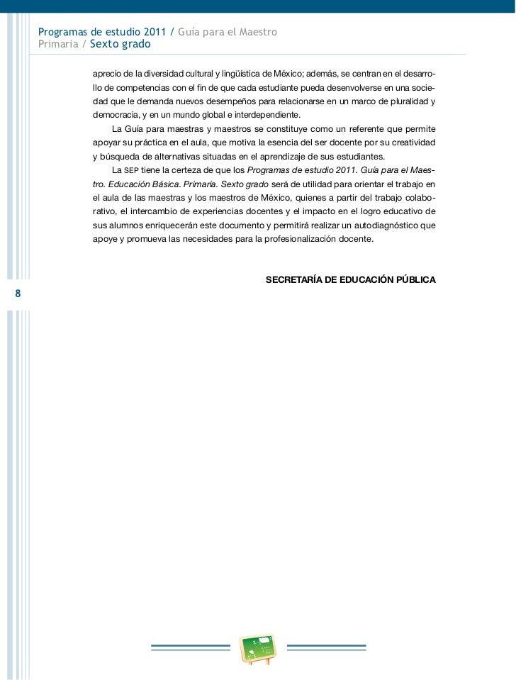 Programas de estudio 2011 / Guía para el Maestro    Primaria / Sexto grado               aprecio de la diversidad cultural...