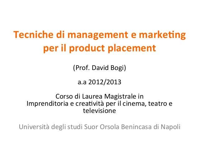Tecniche di management e marke/ng                                 per il produ...