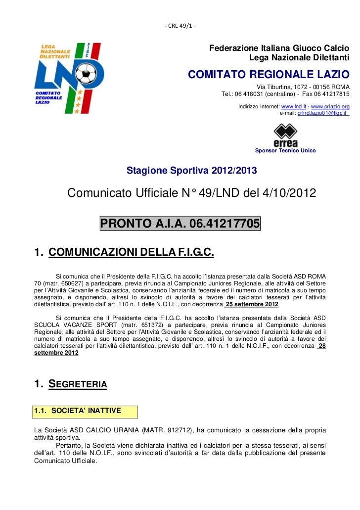 ‐CRL49/1‐                                                                    Federazione Italiana Giuoco Calcio       ...