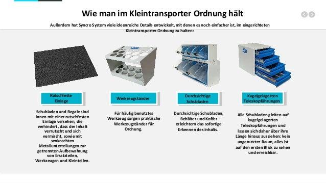 Wie man im Kleintransporter Ordnung hält Außerdem hat Syncro System viele ideenreiche Details entwickelt, mit denen es noc...
