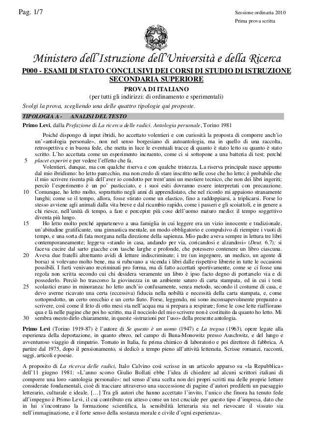 esame di stato 2009 italiano