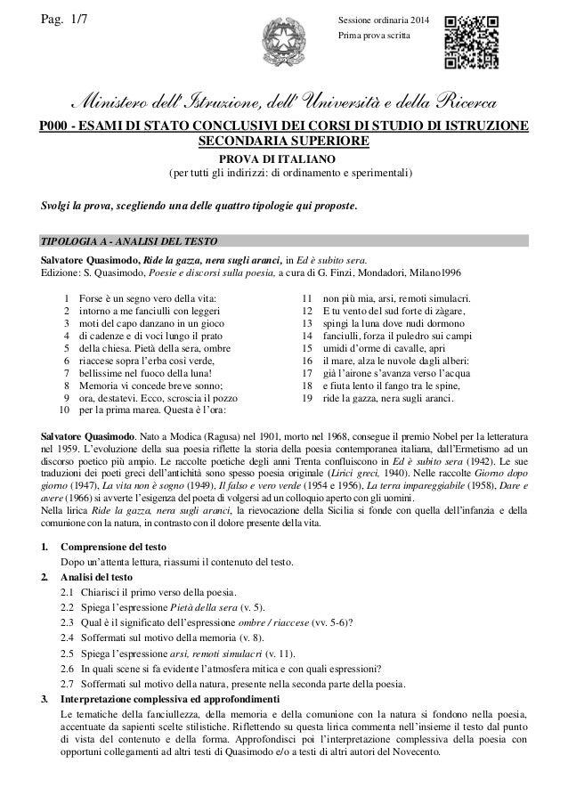 Pag. 1/7 Sessione ordinaria 2014 Prima prova scritta Ministero dell'Istruzione, dell' Università e della Ricerca P000 - ES...