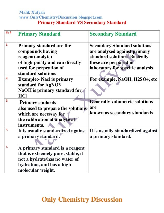 Primary and secondary standard solutions in chemistry essay