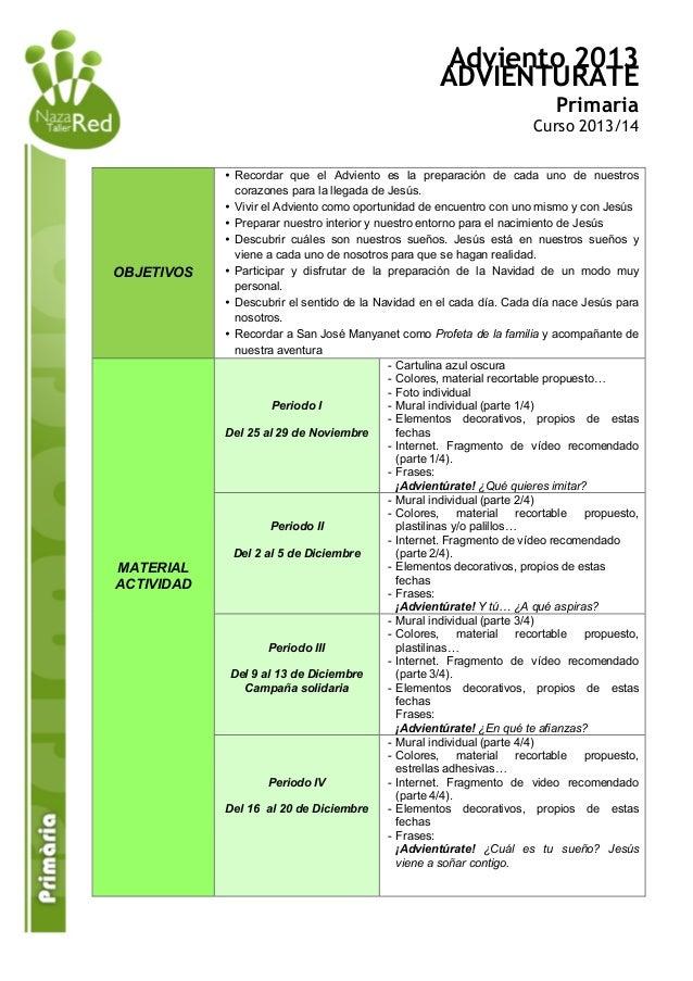 Adviento 2013 ADVIENTURATE Primaria  Curso 2013/14  OBJETIVOS  MATERIAL ACTIVIDAD  • Recordar que el Adviento es la prepar...