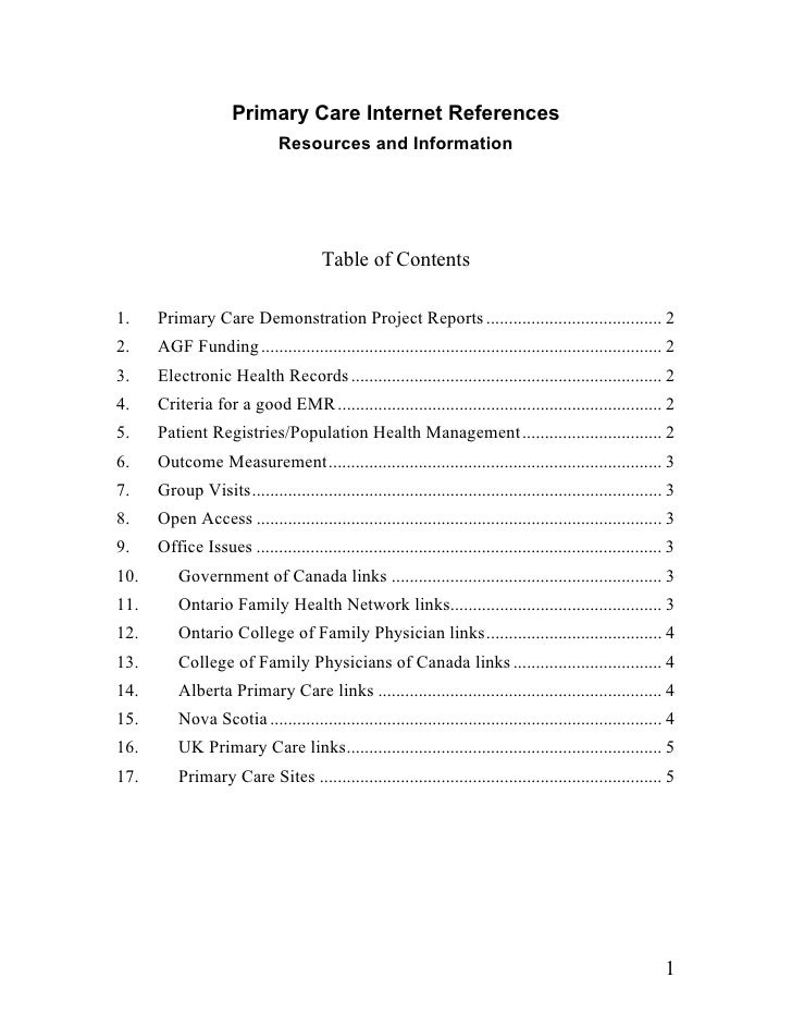 Primary Care Internet References                               Resources and Information                                  ...