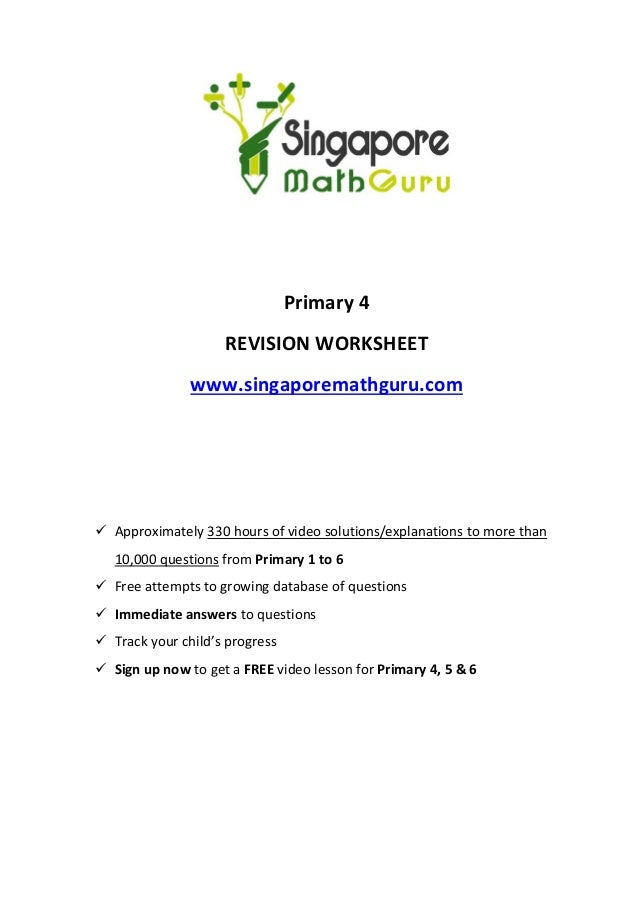 Primary 4 Math Revision, Questions & Tuition