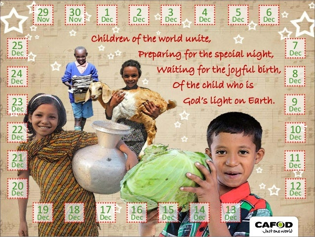 Children of the world unite, Preparing for the special night, Waiting for the joyful birth, God's light on Earth. Of the c...
