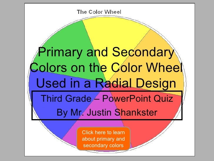 Primary and Secondary Colors on the Color Wheel Used in a Radial Design Third Grade – PowerPoint Quiz By Mr. Justin Shanks...