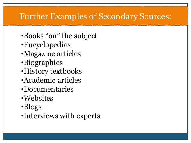 Primary v. Secondary Sources - ARHS Library & Instructional ...