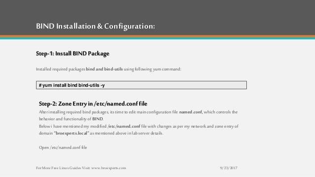 How To Configure BIND as a DNS Server on RHEL7/CentOS7/Fedora26
