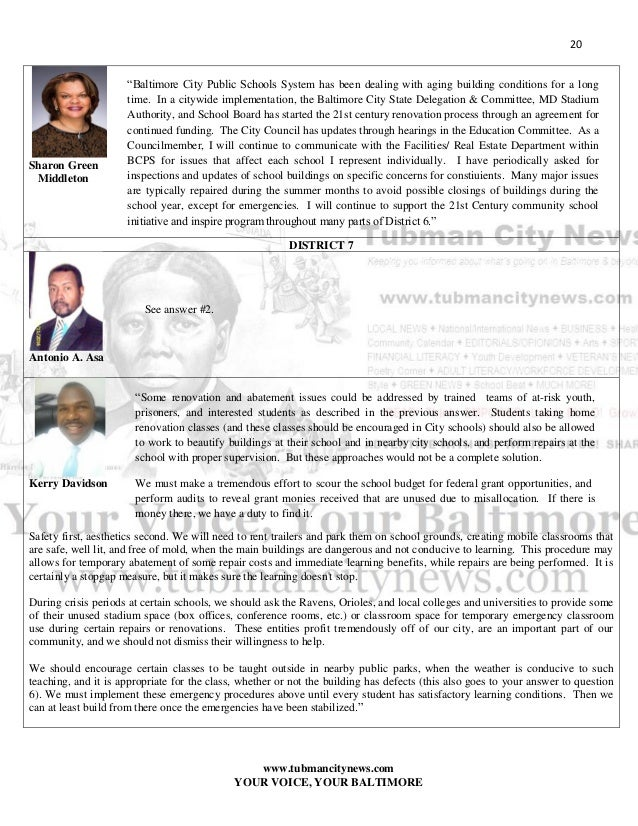 Tubman City News 2016 Baltimore Council Candidates Primary Ele