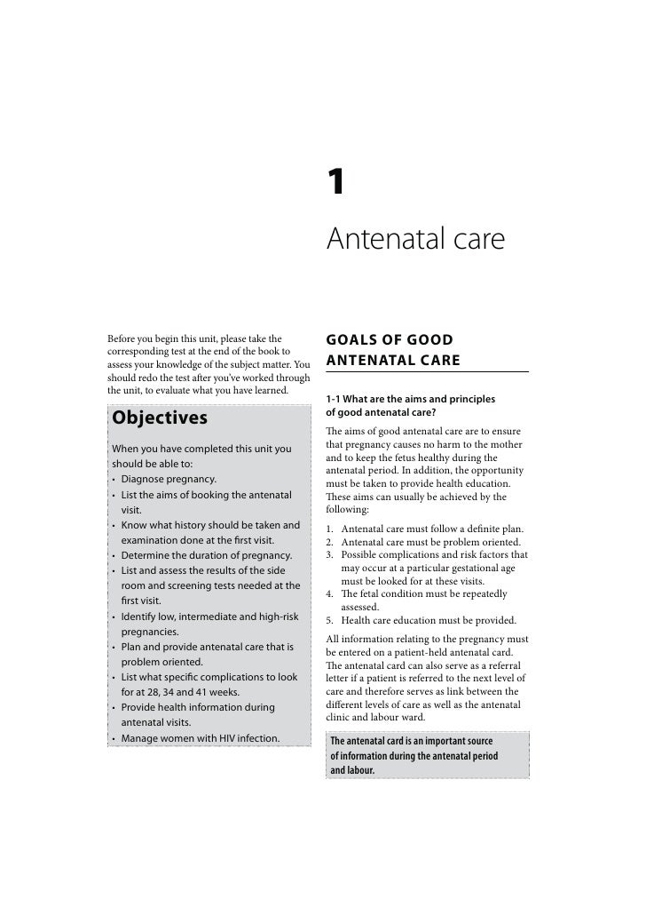1                                                   Antenatal careBefore you begin this unit, please take the        GOALS...