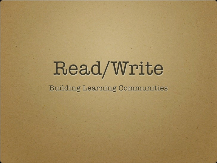 Read/Write Building Learning Communities