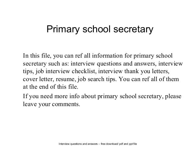 Interview Questions And Answers U2013 Free Download/ Pdf And Ppt File Primary School  Secretary In ...  School Secretary Resume