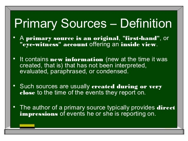 What are primary sources for a research paper