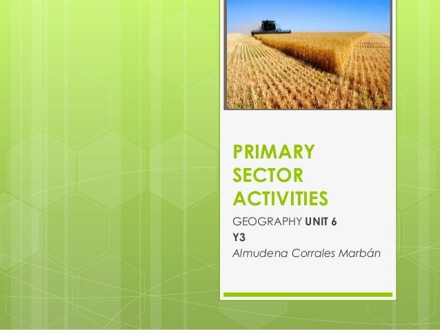 PRIMARY SECTOR ACTIVITIES GEOGRAPHY UNIT 6 Y3 Almudena Corrales Marbán
