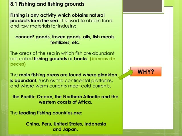 8.2 Types of fishing and techniques Depending on the level of development, fishing can be artisanal or industrial. • Artis...