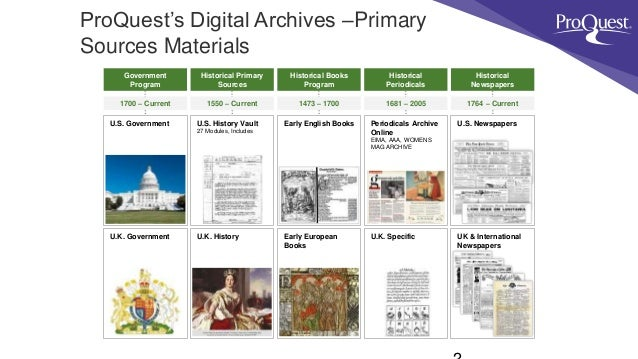 ProQuest Primary Source Materials Slide 2