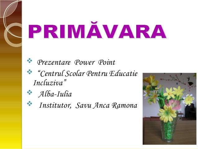 """ Prezentare Power Point  """"Centrul Scolar Pentru Educatie Incluziva""""  Alba-Iulia  Institutor, Savu Anca Ramona"""