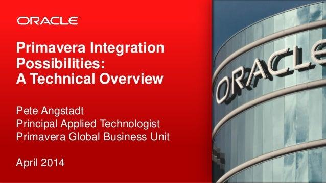 Primavera Integration Possibilities: A Technical Overview Pete Angstadt Principal Applied Technologist Primavera Global Bu...