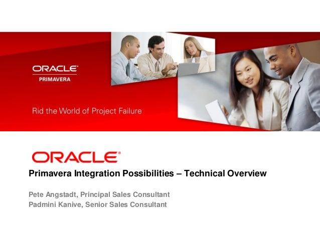 Primavera Integration Possibilities – Technical Overview Pete Angstadt, Principal Sales Consultant Padmini Kanive, Senior ...