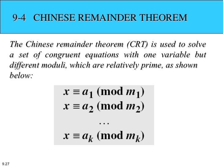 Chinese Remainder Theorem Example Image Collections Example Cover