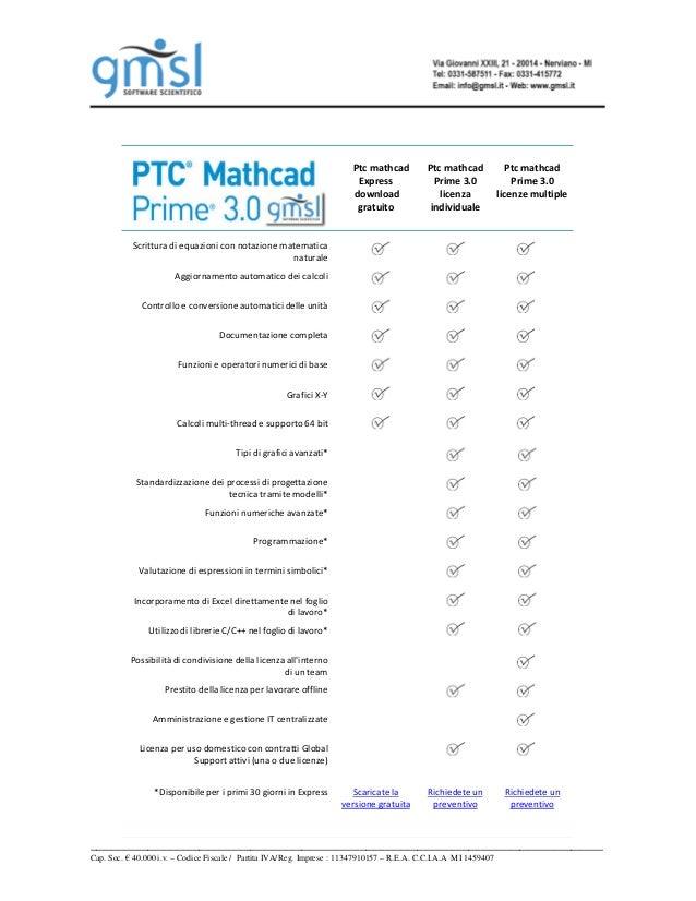 Ptc mathcad  Express  download  gratuito  Ptc mathcad  Prime 3.0  licenza  individuale  Ptc mathcad  Prime 3.0  licenze mu...