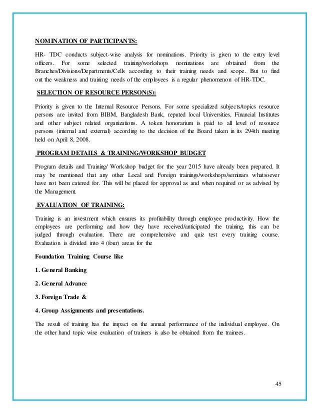 Prime bank teaning development or hr development