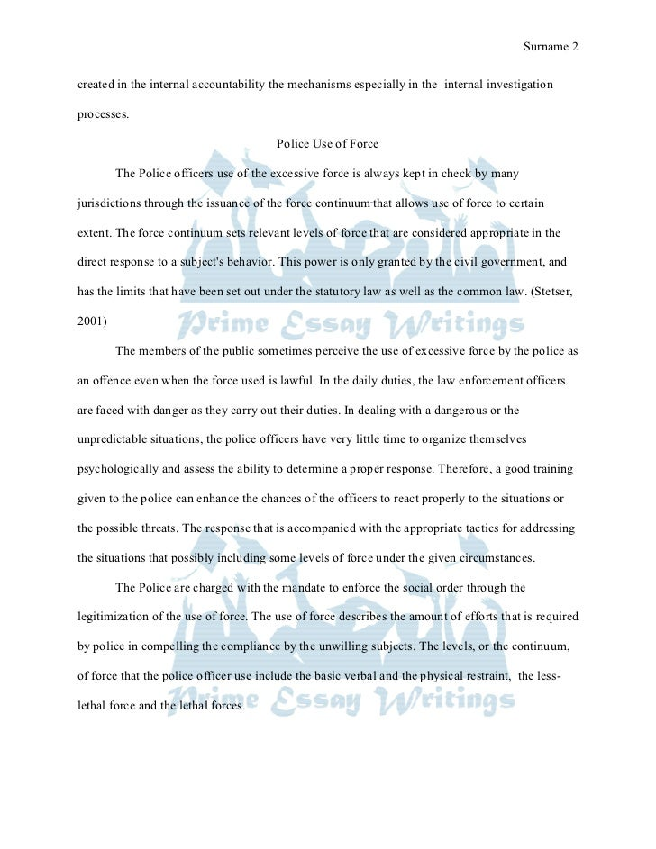 essay on police brutality