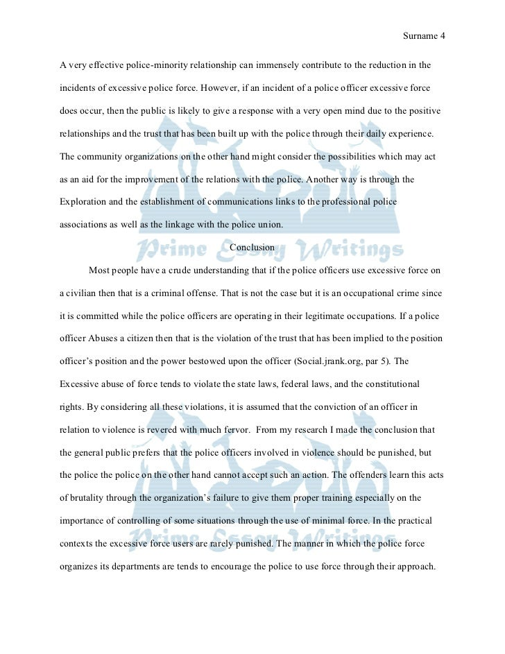 Prime Essay Writings Term Paper Excessive Use Of Force By Police 4 Prime  Essay. Law Enforcement Resume Cover Letter Security Guard ...
